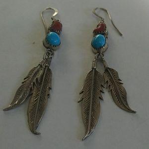 Navajo Running Bear sterling silver earrings
